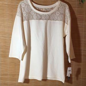 Off white lace bodice top XL